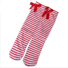 One Pair Lovely Kids Girls Princess Knee High Socks Bowknot New Red and White Stripes Pattern 1-8Y