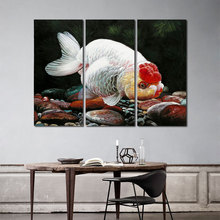 3 Pcs Modern Animal Fish Decoration Red Sliver Gold Pet Goldfish Wall Art Picture Poster Canvas Painting For Room Art Unframed