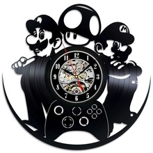 Mario Luigi Game Vinyl Record Clock Wall Art Home Decor