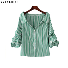 New Off Shoulder Green Striped Fold Three Quarter Sleeve Blouse Women 2017 Summer Blouses Shirt Women Elegant Tops Blusas Female(China)