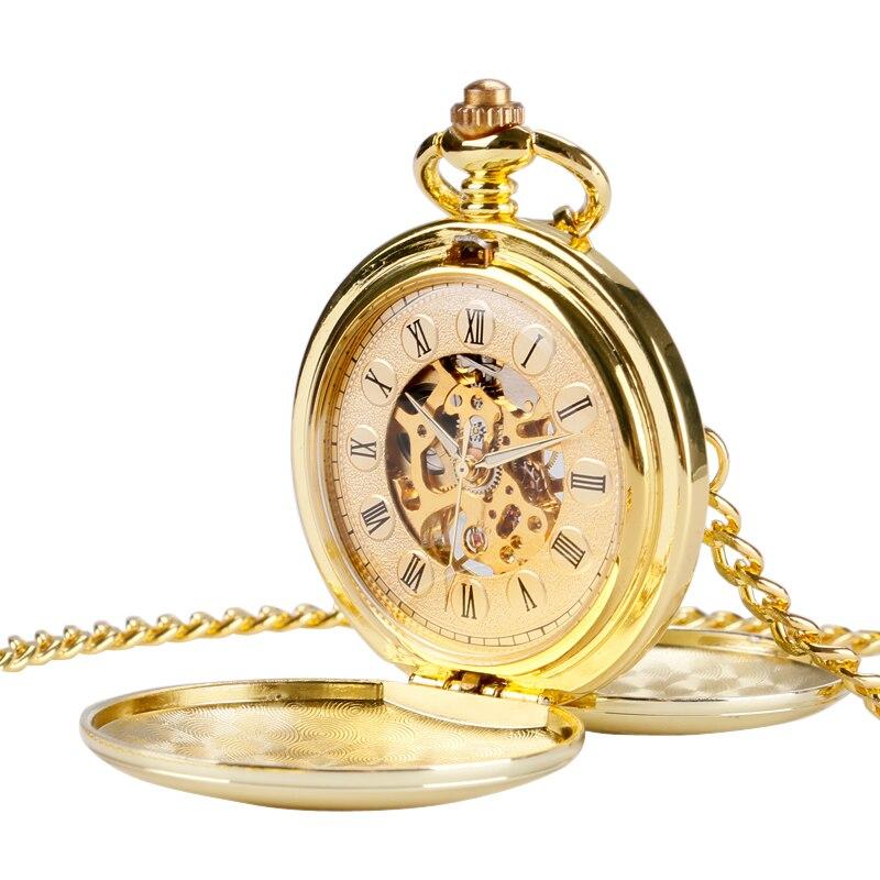 Luxury Simple Smooth Golden Sided enclosure Pocket Watch Chain Women Men Unisex Mechanical Hand Winding Roman Numerals P2014C<br><br>Aliexpress