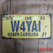 "New 2017 LOSICOE Vintage Metal painting ""W4YAI"" car license plate wall painting art fashion crafts decoration 15x30 cm(China)"
