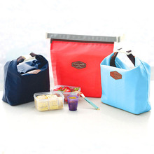 Portable Insulated Nylon Lunch Bag Cooler Waterproof Lunch Carry Storage Bag Food Picnic Bag Pouch 36x29cm Red / Dark Blue 1 PC