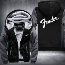 USA SIZE New fashion Winter Guitar brand Fender printing logo Jacket Thicken Fleece Hoody Swearshirt Tops USA EU size Plus