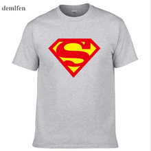 Superhero Superman T Shirt Mens Superman T-shirts Comic Cartoon T-shirt 100% Cotton Anime Tops Tees(China)