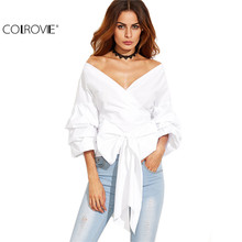 COLROVIE White Women Blouses Fall 2017 Womans Clothes Off Shoulder Top 3/4 Sleeve Sexy Shirt Autumn Bow Tie V Neck Wrap Blouse
