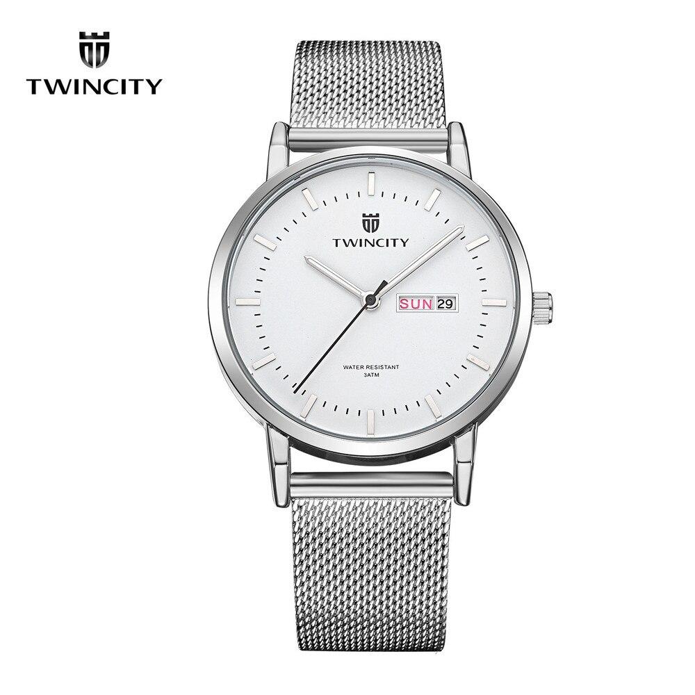 TWINCITY Men Watches Top Brand Luxury Stainless Steel Mesh Band Gold Watch Man Business Quartz Watch Male Wristwatch Relogio<br><br>Aliexpress