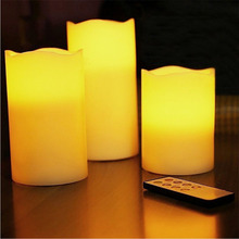 "Sanheshun 3pcs/Set 5/6/7"" Ivory Romantic LED Scented Mood Candles Light Lamp Remote Control Flameless Vanilla Light(China)"