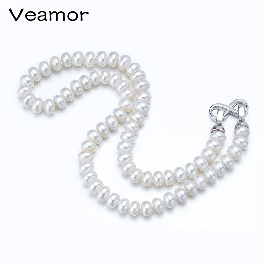 Veamor Genuine Freshwater Pearl Necklace, Trendy Necklace For Everyday, New Brand Fashion Jewelry 8-9 mm, Choker Necklace(China)