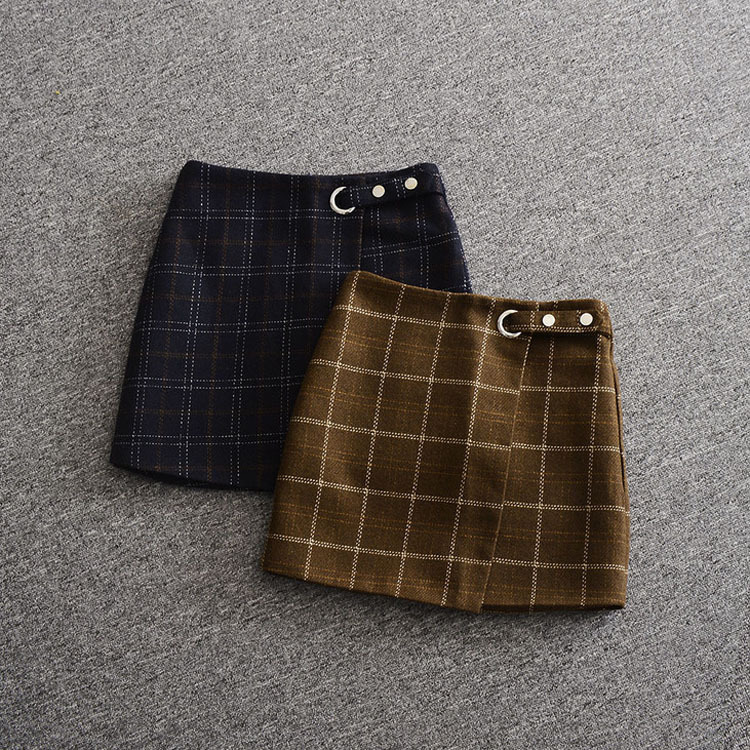 woolen skirt new 2017 autumn winter fashion plaid mini skirts blue brown preppy style