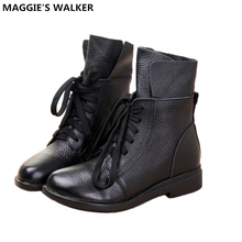 Maggie's Walker Women Fashion Genuine Leather Ankle Boots Women Autumn Warm Martin Boots Size 35-40