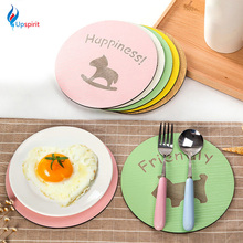 Cartoon Wooden Coffee Drink Cup Coaster Placemats Round Pot Holder Heat Insulation Pad Kitchen Table Mats Desk Accessories(China)