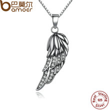 BAMOER New Popular Hot 925 Sterling Silver Wing Pendant Necklace Feather Necklace for Women Fine Jewelry SCN027(China)