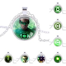 New Design Justice League Green Lantern collection necklace green lantern pendant jewellery christmas gift kids birthday gift