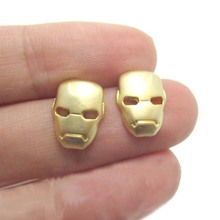 Daisies One Pair Stud Earrings Iron Man Mask Shaped Super Hero Earring For Women Jewelry Girl Couple Bijoux Femme
