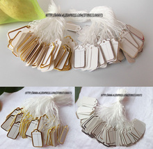 Promotion 100pcs Paper Jewelry Price Tags Strung Pricing Tag with String Gold and Silver Store Accessories Necessity Lable