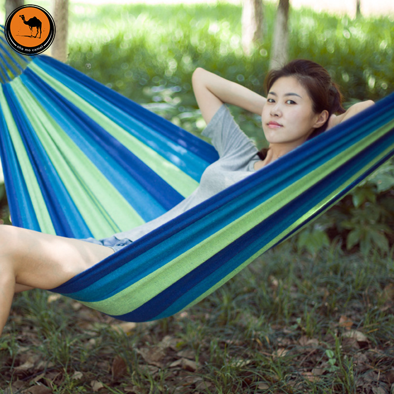 High Strength Portable Hammock 200*150cm Backpacking Hiking Woven Cotton Fabric Tender Green Striped Camping Furniture<br>