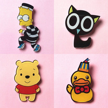 amazing Harajuku Cartoon Acrylic Brooches Pin badge girl monkey duck bear cat animal Charm Fruit icon brooch broche BR0004