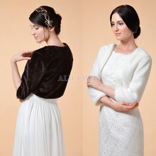 Hot Ivory/Black Faux Fur Bridal Wedding Wrap Jacket Winter Evening Party Shrug Bolero Coat Women's Accessory Size S M L PJ1611CP