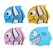Hot Sale High Quality Kids Silicone Animal Fish Cartoon Child Swimming Bathing Head Cover Cap Hat