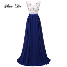 Long Evening Dresses 2017 New Fashion V Neck Sleeveless Chiffon Formal Prom Gown vestido de noche