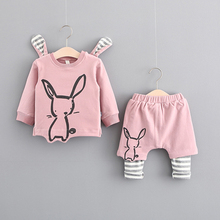 2017 New Children Limited Casual Cotton Unisex Full Animal O-neck Fall  Suit Korean Middle Rabbit Clothing Set