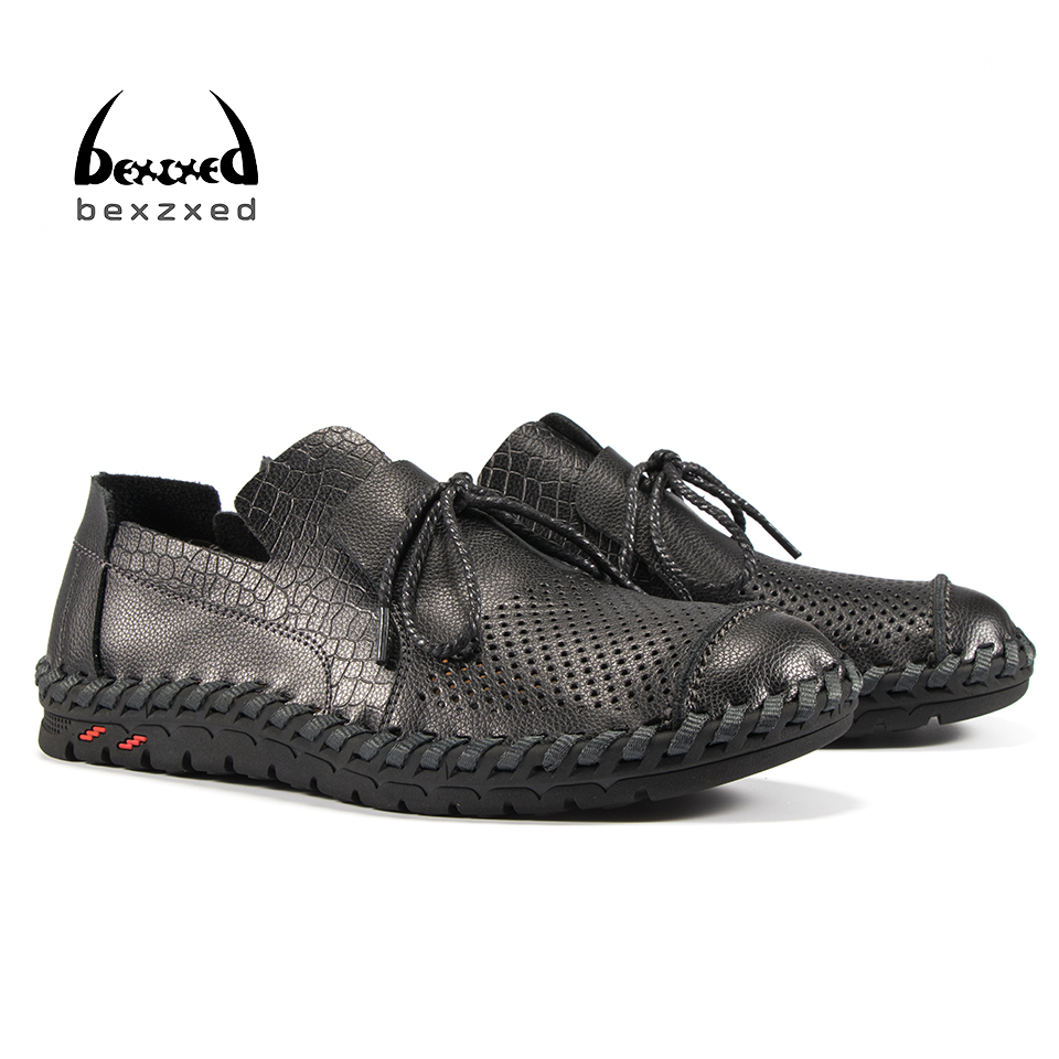 Bexzxed Summer Fashion Oxfords Men Leather Shoes Hollow Design Size Casual Style Men Breathable Lace-up Footwear<br>