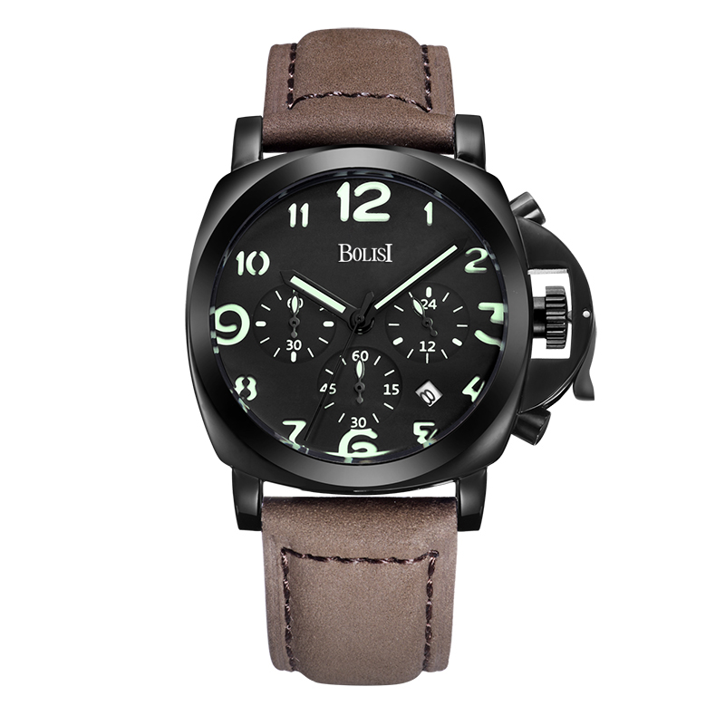BOLISI Business  Wrist Watch With Date Function Quartz Watch  For  Men  leather strap with   Chronograph &amp;  Complete Calendar<br>