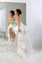 New Sweetheart Sparkly Shiny Diamond Crystal Top Front Short And Long Back High Low Flowers Wedding Dresses