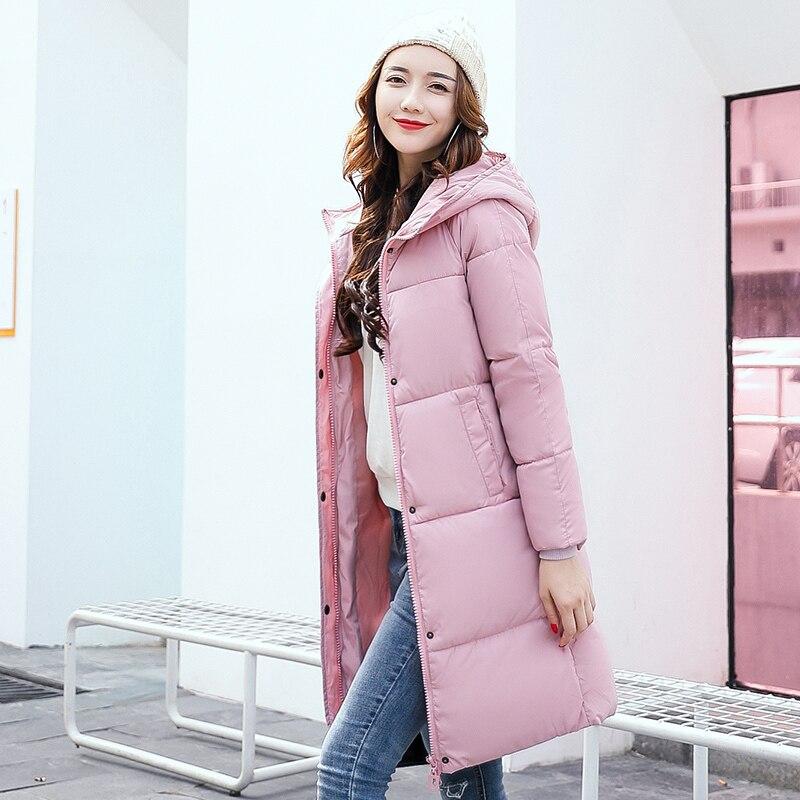 2017 Fashion Winter Korean Slim Plus Size Simple Hooded Women Parka Long Coat Thickened Tide Medium-long Warm Jacket CoatÎäåæäà è àêñåññóàðû<br><br>