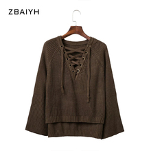 2016 Women Sweaters Autumn Basic Slim Pullovers Female Side Lacing Knitted Chest Straps Simple Speaker Sleeve Loosen Sweaters