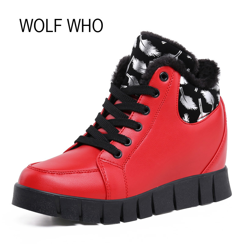 WOLF WHO Hidden Heels Wedge Sneakers Women Winter Shoes Platform High Top Tenis Feminino Casual Fur Krasovki Basket Femme X172<br>