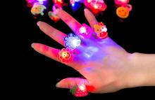 Cartoon snowfake  flash Finger Lights Rings LED  Neon Glow Lamps Rings children party birthday Christmas props festive supplies