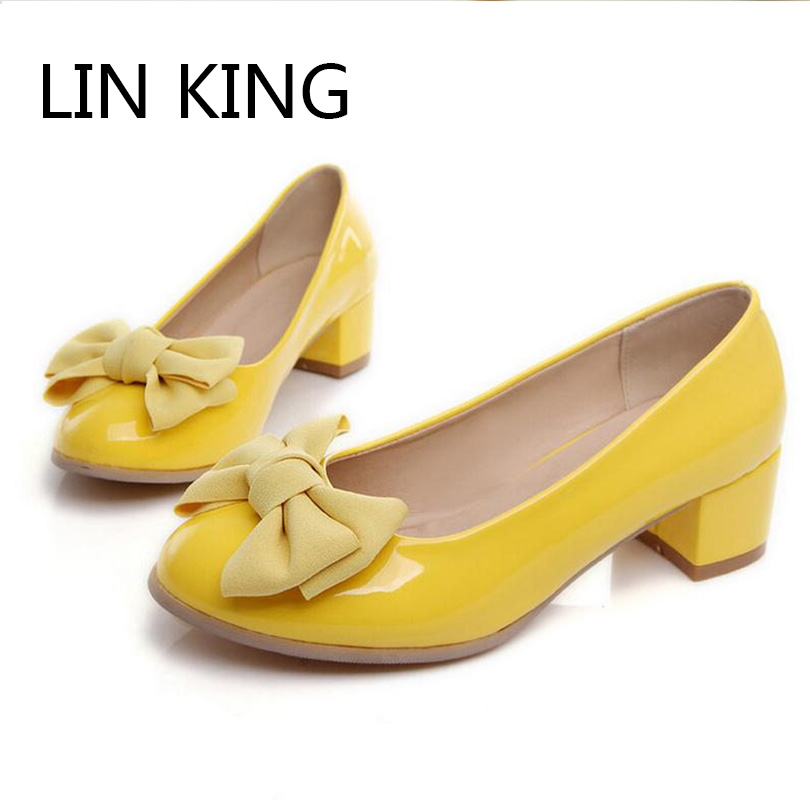 LIN KING Hot Sale Women Pumps Thick Square Low Heel Shallow Mouth Shoes Bowtie Sweet Mary Janes Shoes Wedding Party Plus Size<br><br>Aliexpress