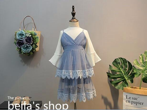 2018 spring new European childrens clothing childrens trumpet sleeves with sundresses two-piece dress<br>