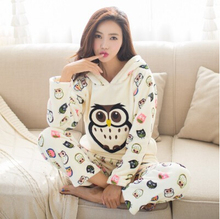 Autumn and winter thickening flannel pajama sets sleepwear female cartoon pajamas lounge coral fleece sleepwear pullover(China)