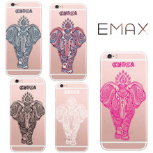 Colored Henna Draw Elephant Case for IPhone7 Plus 5s 6 6s 5 6Plus Shell India Style Cover Noble Series Coque Silicone Fundas Hot