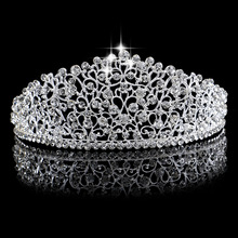 Gorgeous Sparkling Silver Big Wedding Diamante Pageant Tiaras Hairband Crystal Bridal Crowns For Brides Hair Jewelry Headpiece(China)