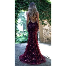 Buy Sexy lace halter Sequins Women Maxi Dress Sleeveless High Split backless Long Dress Floor Length Bling sparkly Evening Party