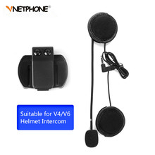 V6 Intercom Accessories Microphone Speaker & Clip Suit for V4 V6 Helmet Intercom Motorcycle Bluetooth Interphone 3.5mm Jack Plug(China)
