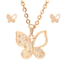 316L Stainless Steel Jewelry Set Gold Color Women Butterfly Pendant Necklace and One Pair Stud Earrings HY033