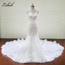 Gorgeous Flower Lace Bridal Dresses Appliques Bodice Mermaid Wedding Dress Long Tail Sexy Style Tank Cutom-made Bridal Gown(China)