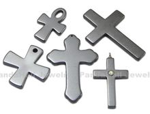 Non-magnetic Hematite Pendants,  Cross,  Mixed,  about 20~34mm wide,  30~50mm long,  hole: 1~4mm