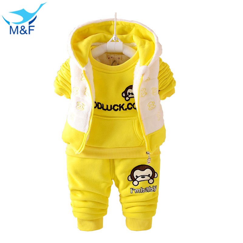M&amp;F Baby Set Winter Boy Casual Clothing Set Hoodies 3 Pcs Suits Warm Thick Coats Clothes For Girls Sets Cartoon Leisure Clothing<br><br>Aliexpress
