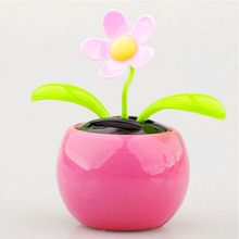 1PCS New Plastic Crafts Home Car Flowerpot Solar Power Flip Flap Flower Plant Swing Auto Dance Toy Colors Random