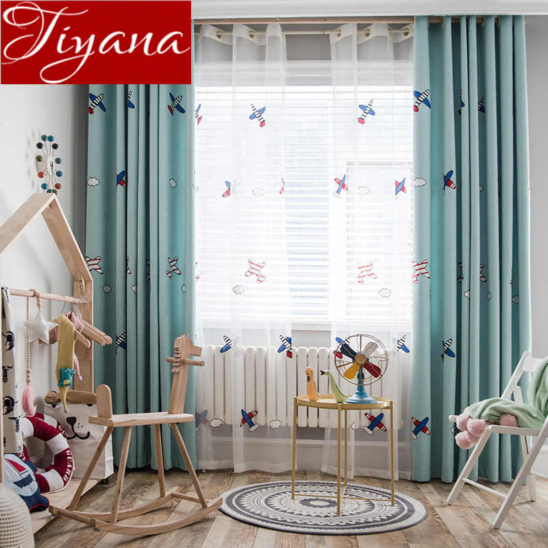 Kids Boys Curtain Airplane Cartoon Embroidery Sheer Fabrics for Window Bedroom Tulle Curtain Blackout Drape M102#30