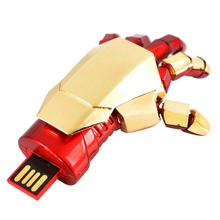 HOT Gold Avengers Iron Man Hand Real Capacity 8GB 16GB 32GB 64GB USB 2.0 Flash Memory Pen Drive 128GB Stick Pendrives 512GB Gift