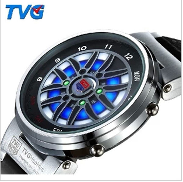 New Big Wheel Vogue TVG Brand Hight Quality Marks Mens Digital Sports LED Watch Men Business Watches,Fashion Gift<br><br>Aliexpress