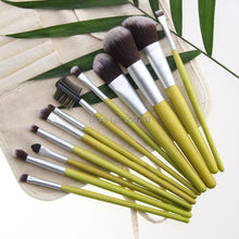 12 PCS Makeup Brushes tools Facial makeup brush kits green bamboo Cosmetic Brush Set with beige linen bag free shipping
