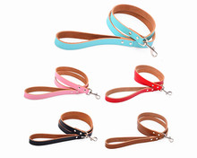 Genuine Leather dog leash S M five colors supply small and large dog leash pet running leash leather dog collar leash(China)